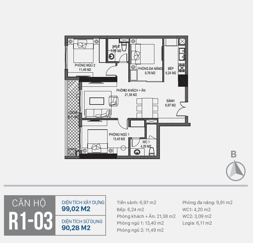 Thiết kế căn hộ R1 - 03 chung cư Sunshine Riverside Ciputra