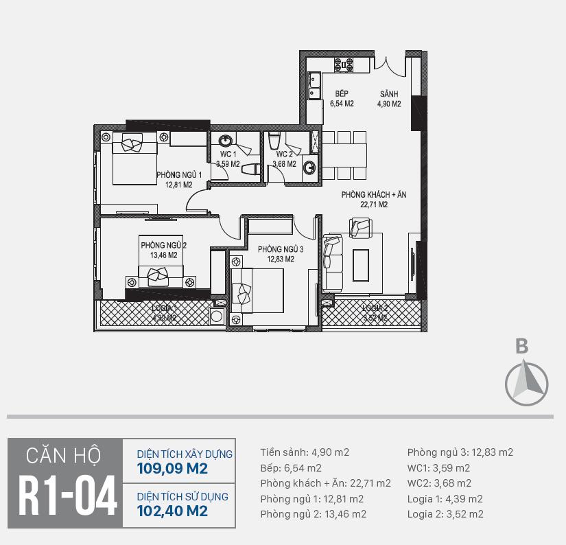 Thiết kế căn hộ R1 - 04 chung cư Sunshine Riverside Ciputra