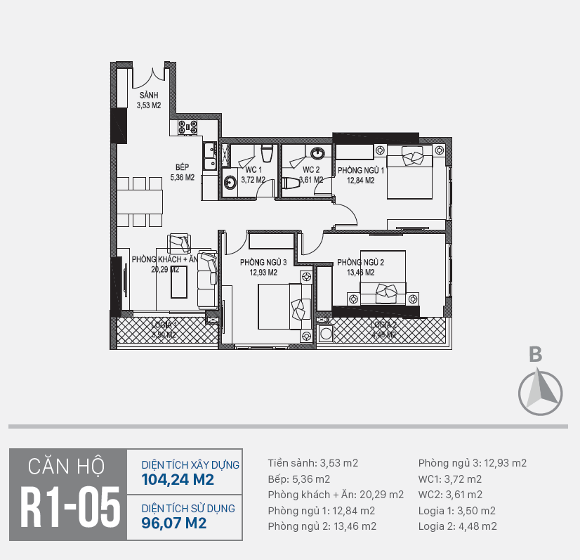Thiết kế căn hộ R1 - 05 chung cư Sunshine Riverside Ciputra