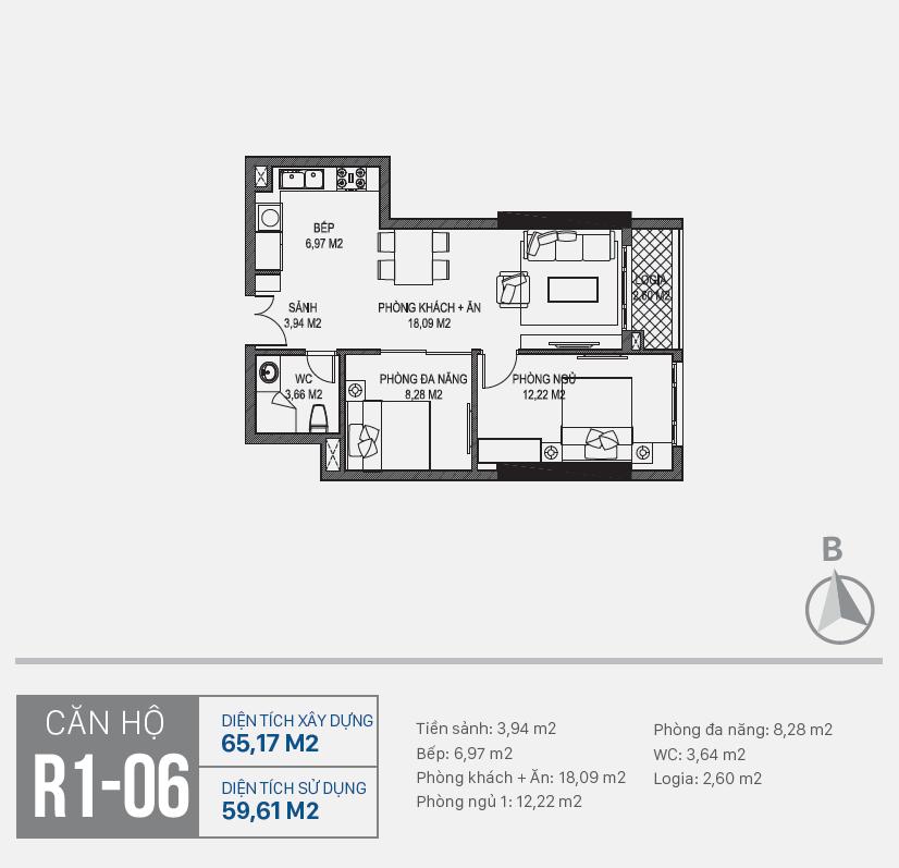 Thiết kế căn hộ R1 - 06 chung cư Sunshine Riverside Ciputra