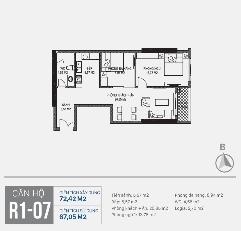 Thiết kế căn hộ R1 - 07 chung cư Sunshine Riverside Ciputra