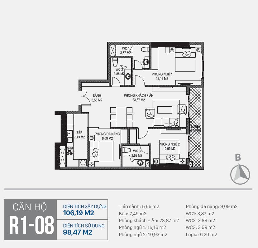 Thiết kế căn hộ R1 - 08 chung cư Sunshine Riverside Ciputra