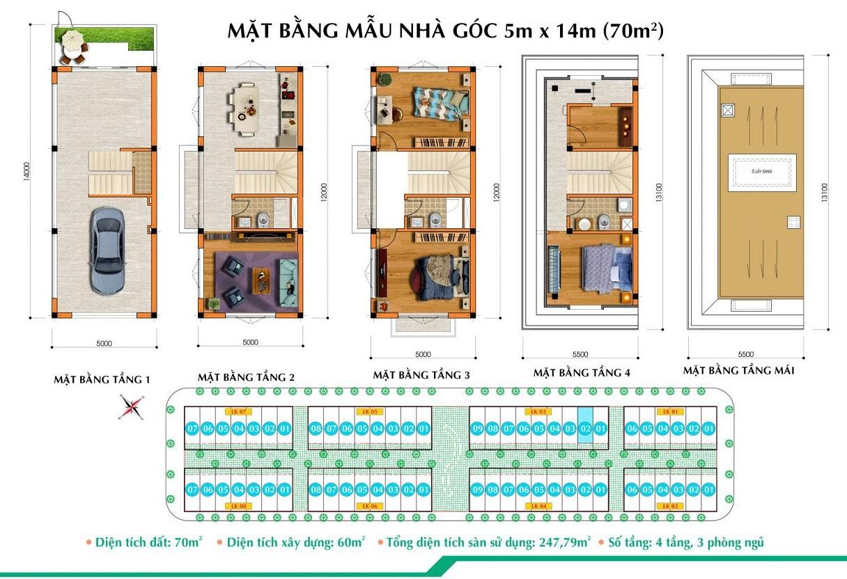 Thiết kế Lô góc Liền kề Long Việt Quang Minh