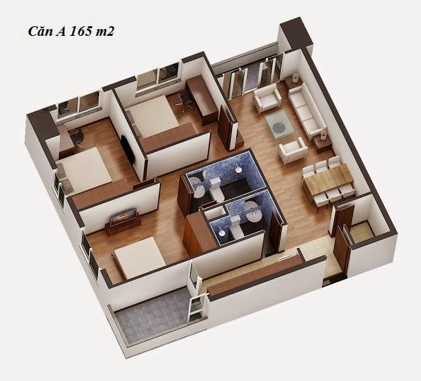 Mặt bằng căn hộ 165m2