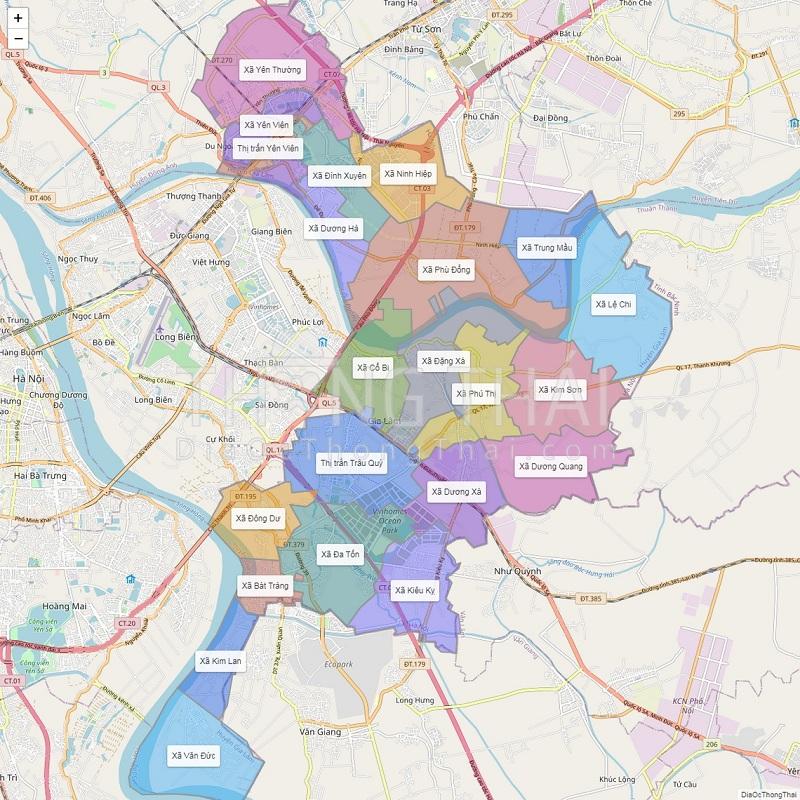 Bản đồ hành chính huyện Gia Lâm