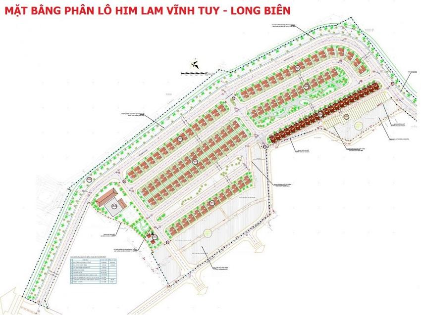 Mặt bằng phân lô dự án Him Lam Long Biên