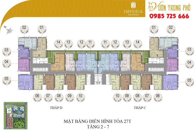 Mặt bằng tòa C-D tầng từ 2-7 dự án Imperia Garden Nguyễn Huy Tưởng