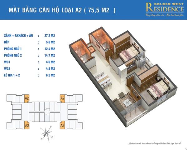 Mặt bằng căn hộ loại A2 75.5m2 của dự án