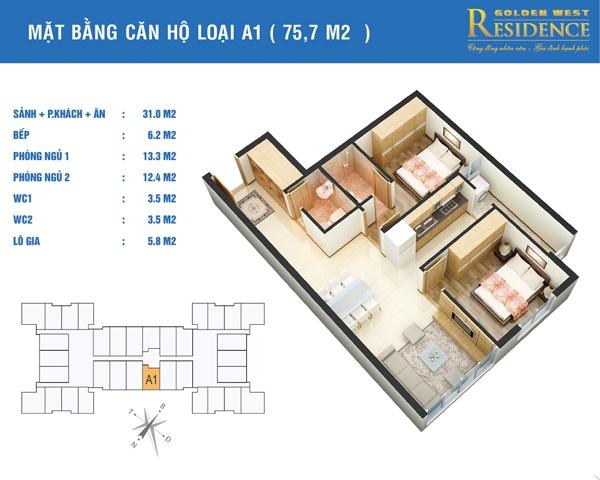 Căn 75.7m2 - Mặt bằng căn hộ loại A1 chung cư lê văn thiêm