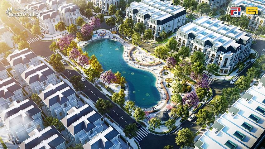 Phối cảnh biệt thự khu đất đấu giá Phương Đông Green Valley Lương Sơn