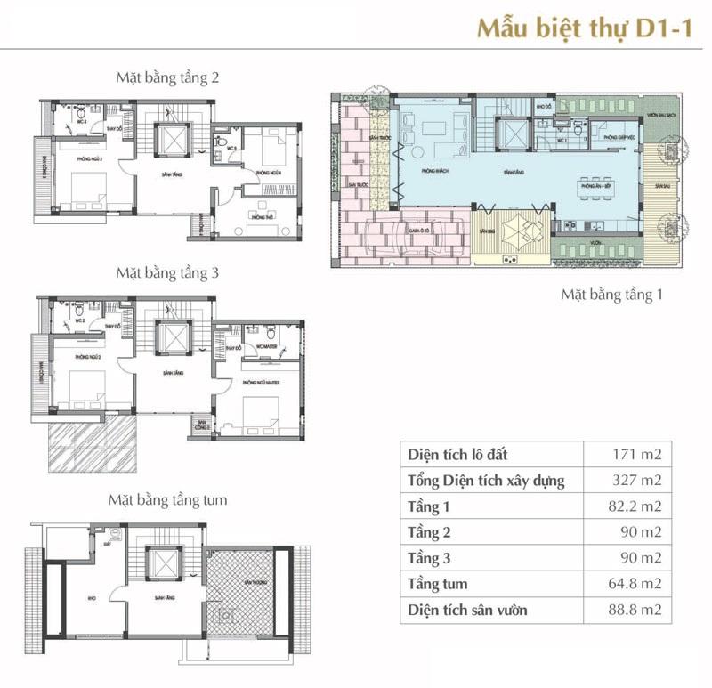 Mẫu thiết kế D1-1 Sol Lake Villa Biệt thự Đô Nghĩa – Nam Cường