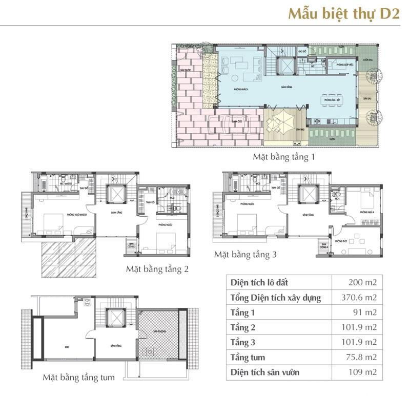 Mẫu thiết kế D2 Sol Lake Villa Biệt thự Đô Nghĩa – Nam Cường