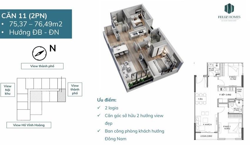 Thiết kế căn góc 2 phòng ngủ diện tích 76 m2. Căn số 11