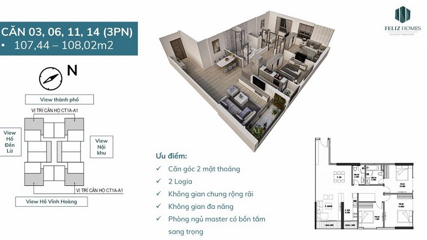 Thiết kế căn góc 3 phòng ngủ diện tích 108 m2. Vị trí số 3, 6, 11, 14 trên mặt bằng