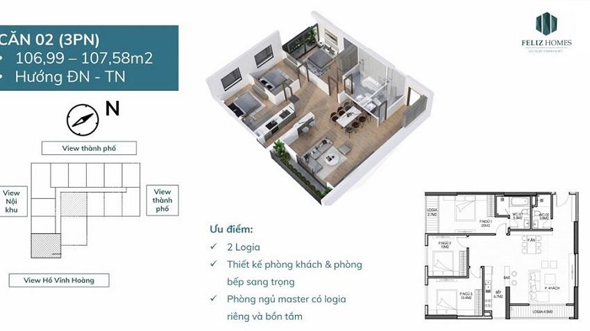 Căn góc 3 phòng ngủ 107 m2. căn số 02