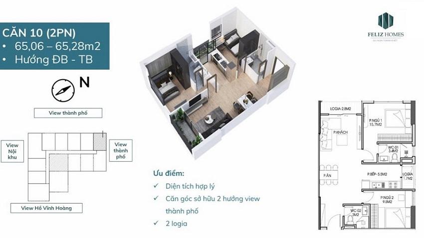 Thiết kế căn góc 2 phòng ngủ diện tích 65 m2. Căn số 10