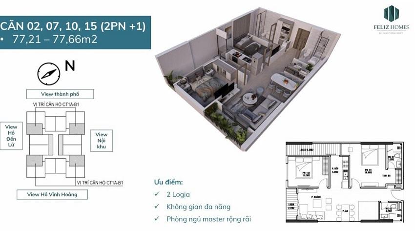 Thiết kế căn hộ 2 phòng ngủ diện tích 77 m2. Căn số 2,7, 10 ,15