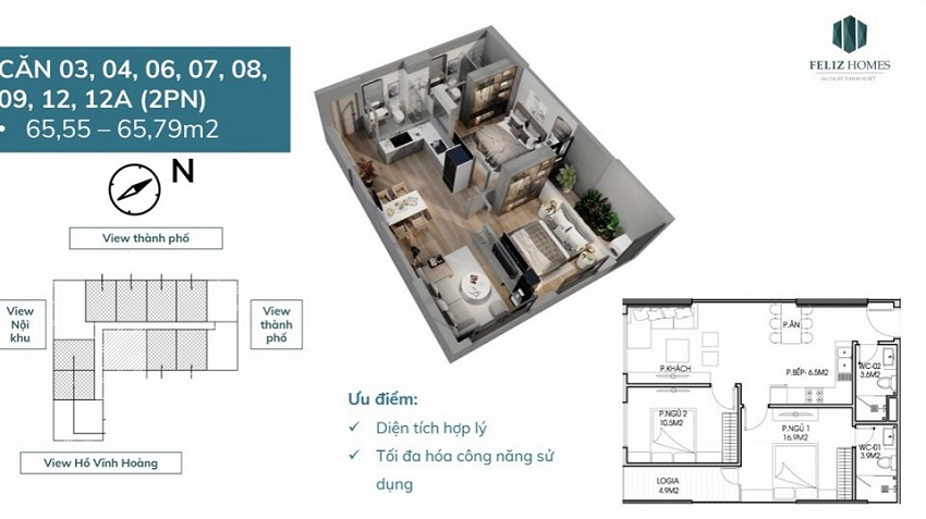 Thiết kế căn hộ 2 phòng ngủ 65 m2. Căn số 3,4,6,7,8,9,12,12a