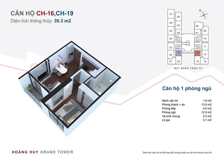 Thiết kế căn hộ 16 - 19 chung cư Hoàng Huy Grand Tower