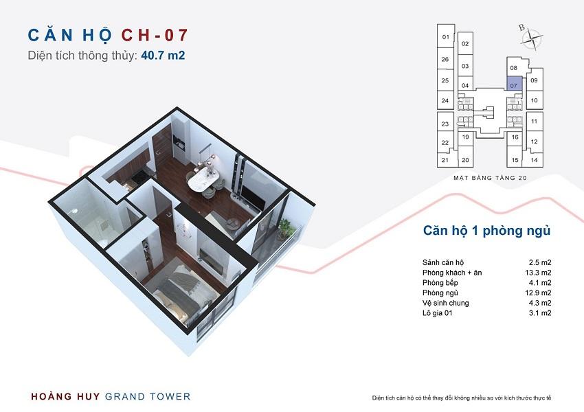 Thiết kế căn hộ 07 chung cư Hoàng Huy Grand Tower