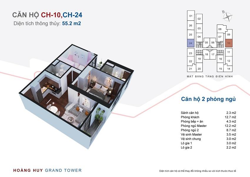 Thiết kế căn hộ 10 - 24 chung cư Hoàng Huy Grand Tower