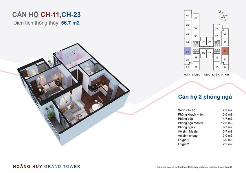 Thiết kế căn hộ 11 - 23 chung cư Hoàng Huy Grand Tower