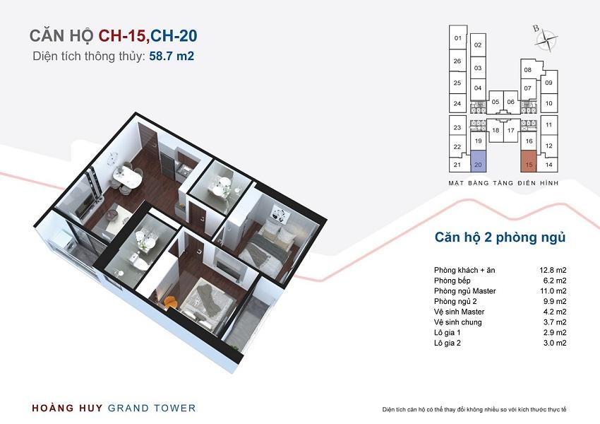 Thiết kế căn hộ 15 - 20 chung cư Hoàng Huy Grand Tower