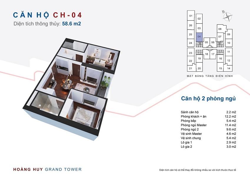 Thiết kế căn hộ 04 chung cư Hoàng Huy Grand Tower