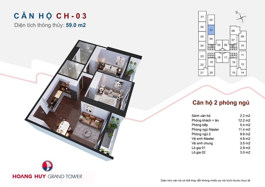 Thiết kế căn hộ 03 chung cư Hoàng Huy Grand Tower