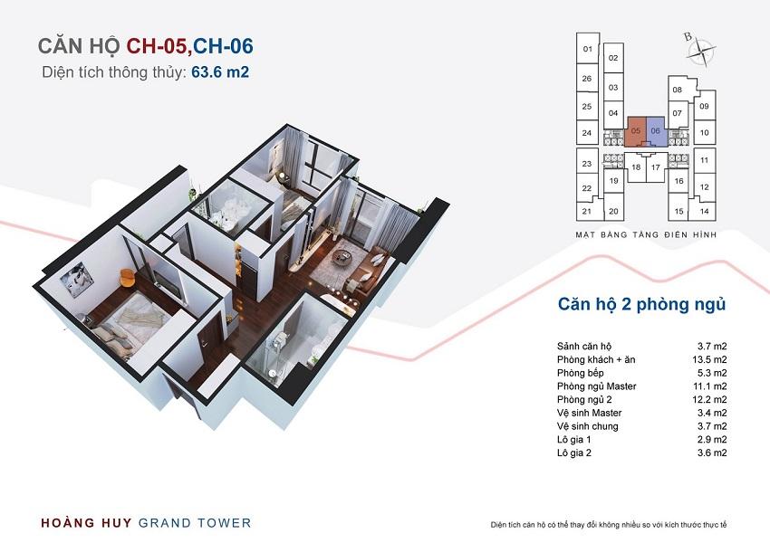 Thiết kế căn hộ 05, 06 chung cư Hoàng Huy Grand Tower