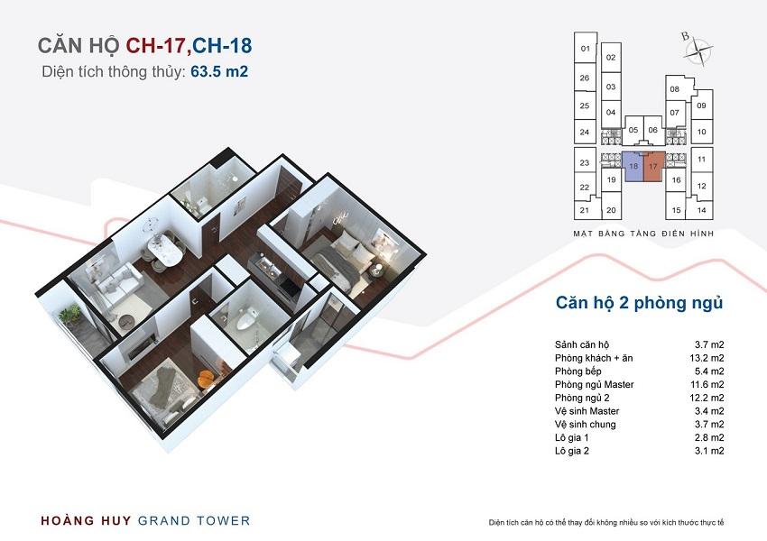 Thiết kế căn hộ 17 - 18 chung cư Hoàng Huy Grand Tower