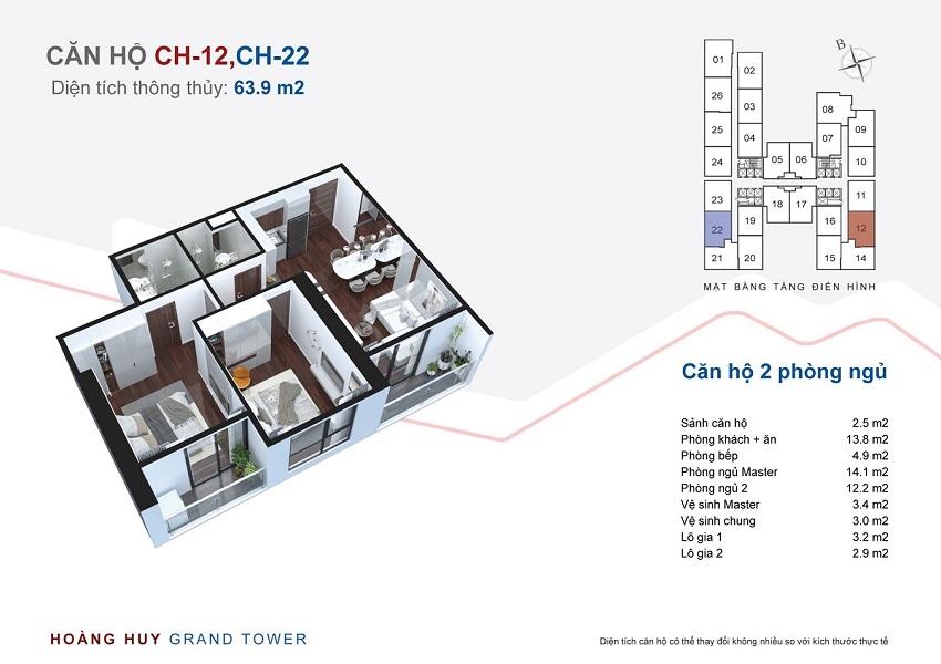 Thiết kế căn hộ 12 - 22 chung cư Hoàng Huy Grand Tower
