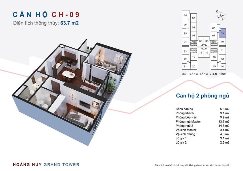 Thiết kế căn hộ 09 chung cư Hoàng Huy Grand Tower