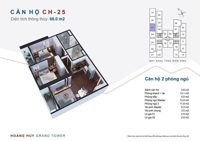 Thiết kế căn hộ 25 chung cư Hoàng Huy Grand Tower