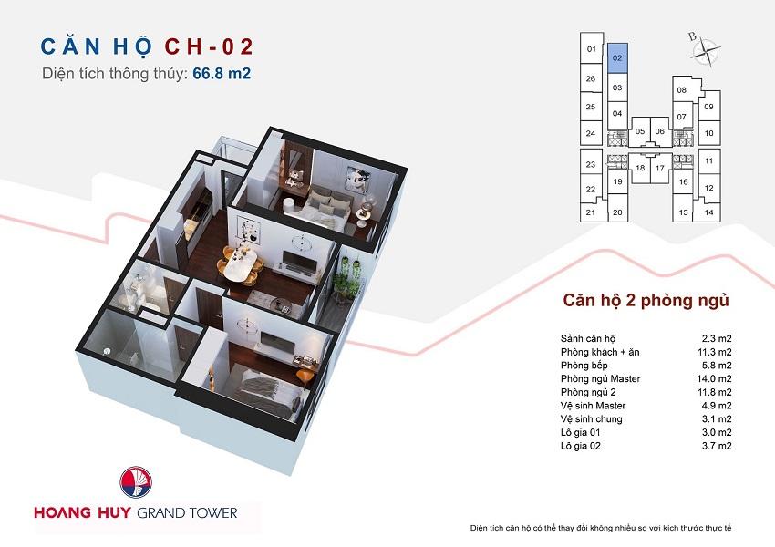 Thiết kế căn hộ 02 chung cư Hoàng Huy Grand Tower