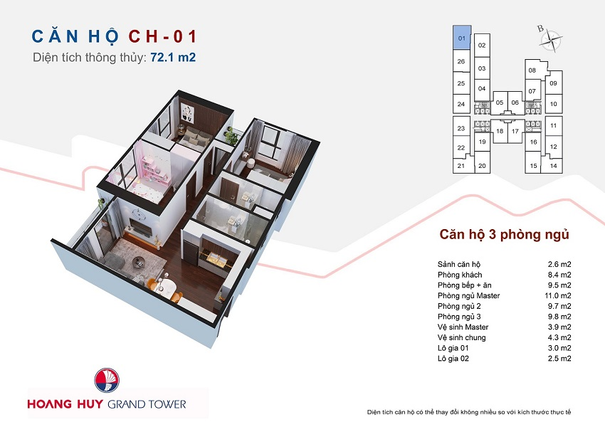 Thiết kế căn hộ 01 chung cư Hoàng Huy Grand Tower