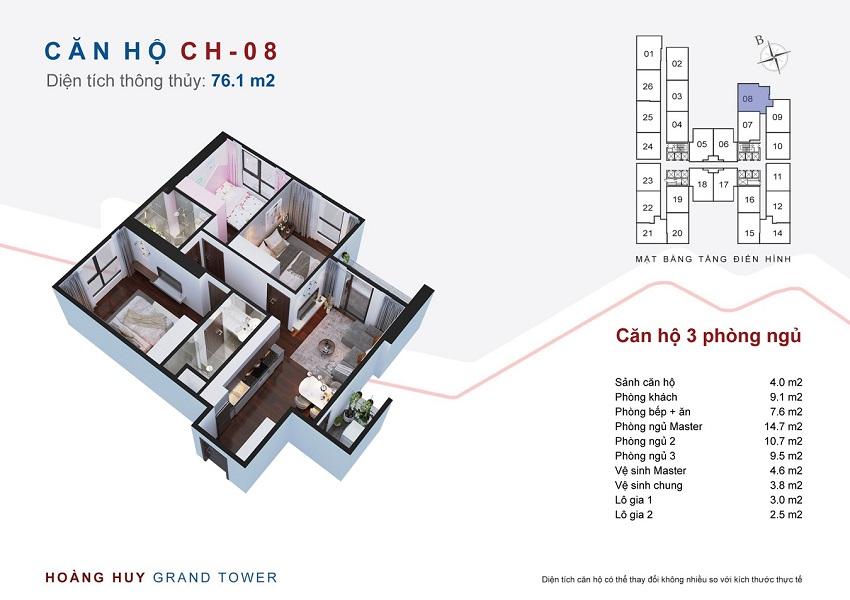 Thiết kế căn hộ 08 chung cư Hoàng Huy Grand Tower