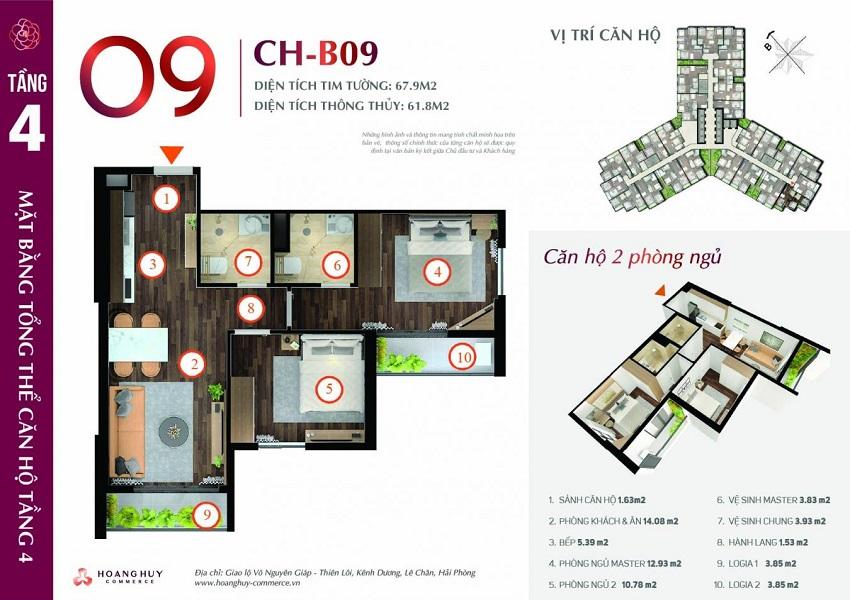 Thiết kế căn hộ 09 Chung cư Hoàng Huy Commerce