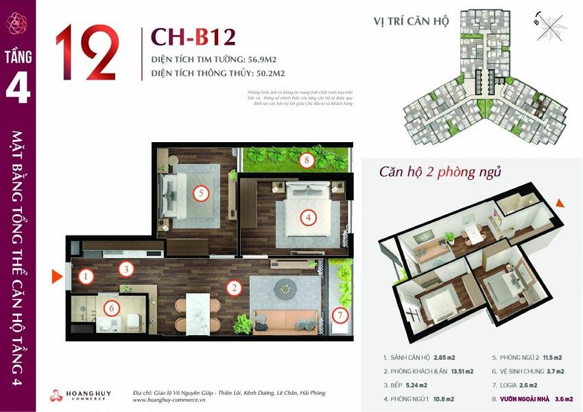 Thiết kế căn hộ 12 Chung cư Hoàng Huy Commerce