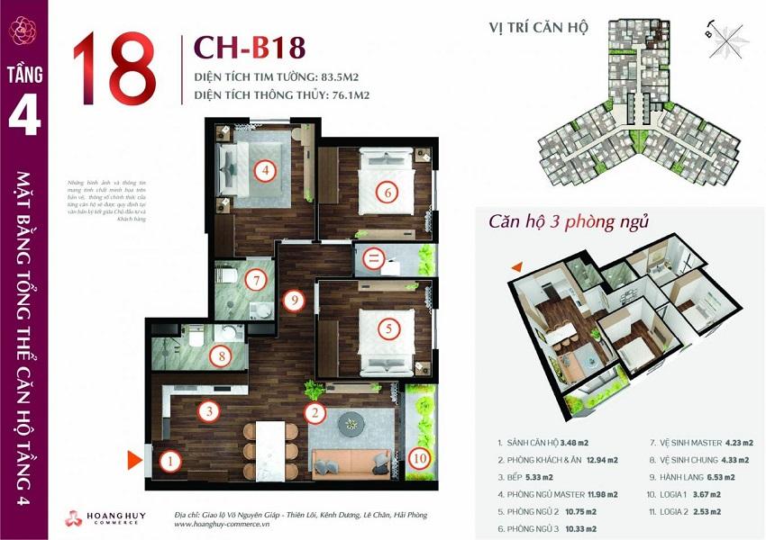 Thiết kế căn hộ 18 Chung cư Hoàng Huy Commerce