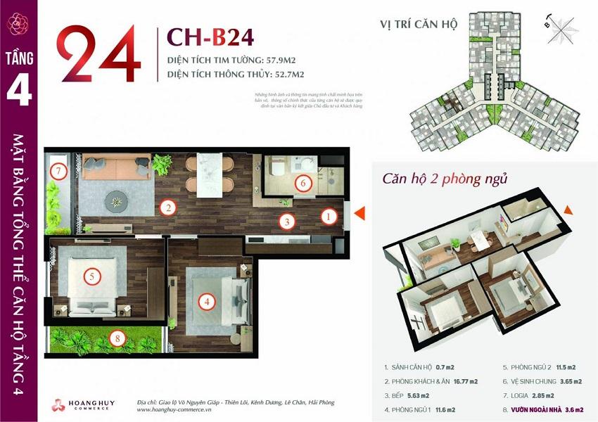 Thiết kế căn hộ 24 Chung cư Hoàng Huy Commerce