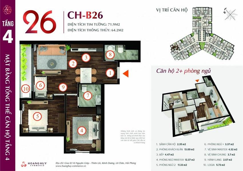 Thiết kế căn hộ 26 Chung cư Hoàng Huy Commerce