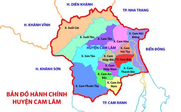 Bản đồ hành chính huyện Cam lâm