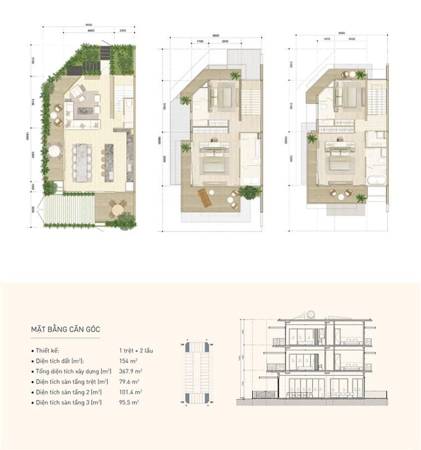Thiết kế căn góc nhà phố biển Thanh Long Bay