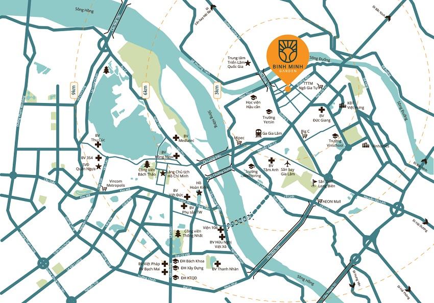 Kết nối chung cư Bình Minh Garden Long Biên
