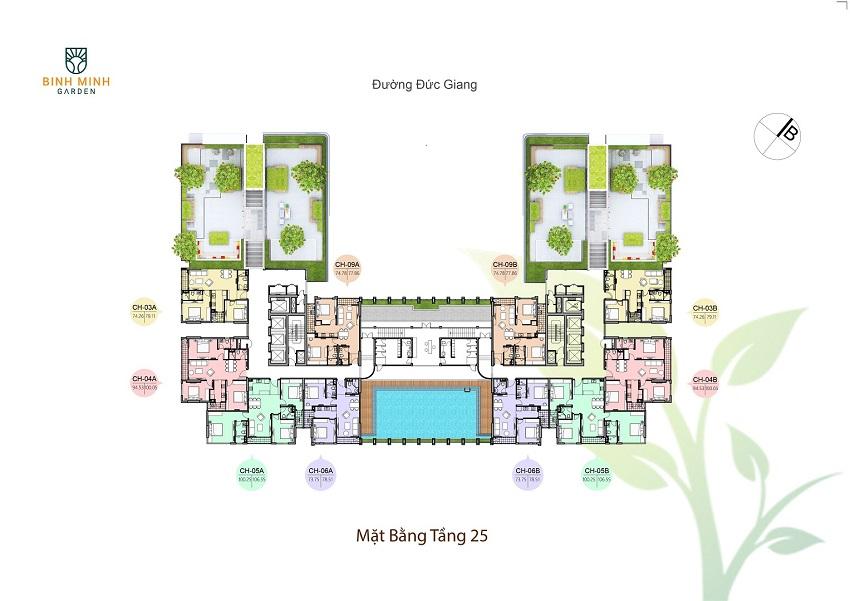 Thiết kế mặt bằng tầng 25 chung cư Bình Minh Garden