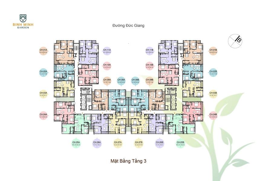 Thiết kế mặt bằng tầng 3 chung cư Bình Minh Garden