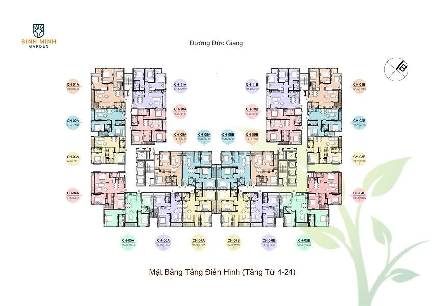 Thiết kế mặt bằng tầng 4-24chung cư Bình Minh Garden