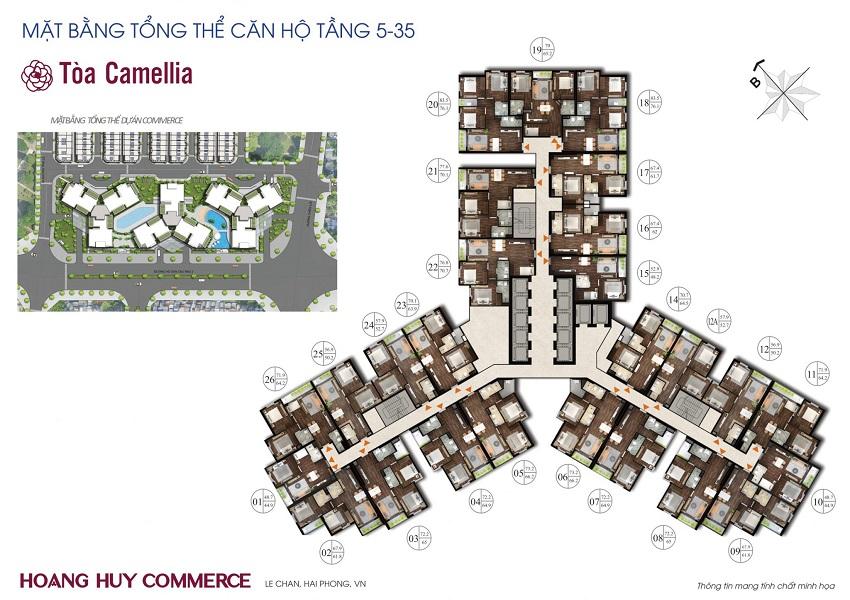 Mặt bằng tầng điển hình tòa Camellia Chung cư Hoàng Huy Commerce
