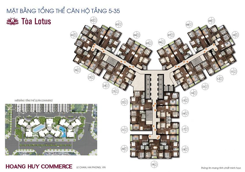 Mặt bằng tầng điển hình tòa Lotus Chung cư Hoàng Huy Commerce